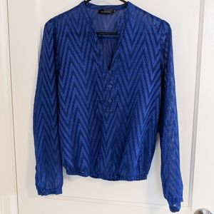 The Limited Royal Blue Chevron Sheer Blouse